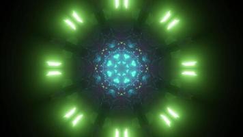 Sci fi neon tunnel 3d illustration
