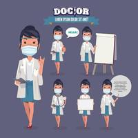Women doctor with mask set vector