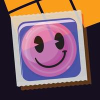 Condom with smile face package. vector