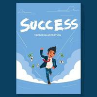 Successful businessman running on blue sky background vector