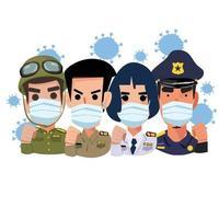 funcionarios del gobierno con máscaras. luchando contra el concepto de virus vector