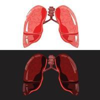 pulmón sano o enfermedad pulmonar. pulmón bueno y malo. vector