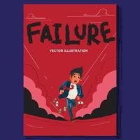 Failure businessman runs away vector