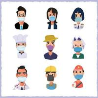 Set of people with mask vector