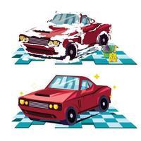 concepto de lavado de coches. antes y después de lavar el coche. vector