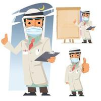 Arab Traditional National Muslim Clothes Male Doctor with Anti Coronavirus Covid 19 Mask vector