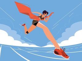 Runner woman runs across a finish line - vector illustration