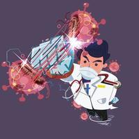 Doctor as super hero in hospital scrubs uniform hitting virus vector