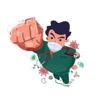 Doctor or nurse as super hero pose in hospital scrubs uniform hitting virus vector