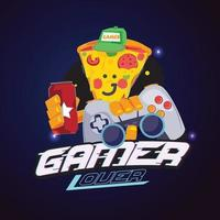 Pizza cartoon with controller and soda in hand. Gamer logo concept vector