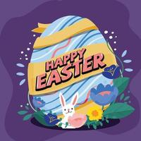 Happy Easter egg with rabbit and flower vector
