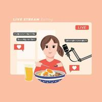 Video creator eating a lot of food and recording video in home studio. Streaming concept. vector