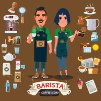 Barista man and women with coffee maker set. Coffee bar concept. vector