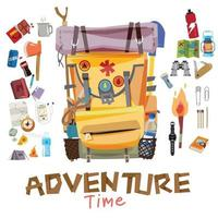 Backpack with adventure gear and tools vector