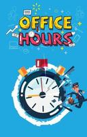 Businessman runs out from stopwatch. Office hours concept. vector