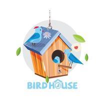 Birdhouse with family of blue birds vector