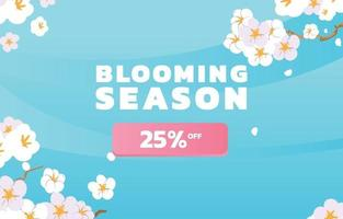 White blooming flower background vector