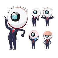 Eye characters in businessman uniforms. Eye mascot set. vector