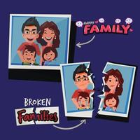 Torn paper with picture of sad family. Broken family concept. vector