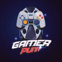 logotipo de jugador. cabeza de robot con controlador de jugador vector