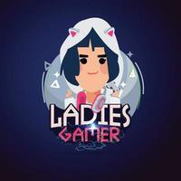 Ladies gamer logo. Hacker or gamer concept. E-sport. vector