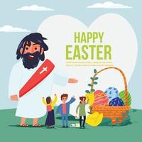 Jesus with people and easter eggs. Happy easter concept. vector