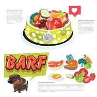 Barf food for dog. Healthy food for dog. vector