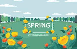 Yellow flowers and green field. Spring season background. vector
