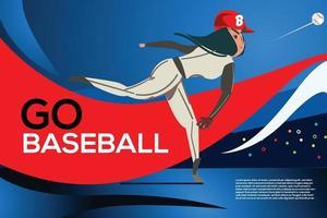 Baseball Girl throwing ball. Website landing page. vector