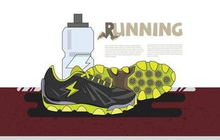 Running sneakers with water bottle on running track. Banner or landing page website vector