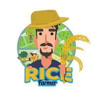 Rice farmer logo. Asian farmer. vector