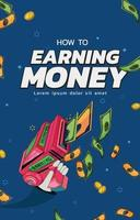 Earning money poster concept. vector