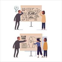 Bad and good business plan on paperboard. vector
