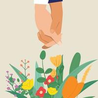 Couple holding hands with flowers. Valentines. vector