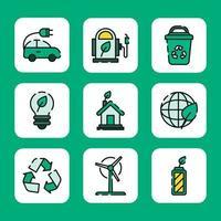 el uso de energía ecológica verde vector