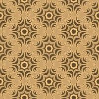 Seamless vector texture of floral and abstract round shape swamp color elements on brown backdrop.