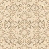 Seamless vector texture of floral and abstract round shaped cream color elements on a peach backdrop.