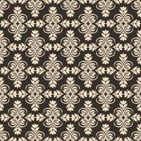 Periodic Seamless Pattern of abstract elements or butterflies and leaves with beige flowers on a brown background. vector