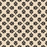 Seamless Pattern of abstract elements or butterflies and leaves with brown flowers on a beige background. vector