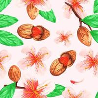 Watercolor seamless pattern of branches and almonds vector