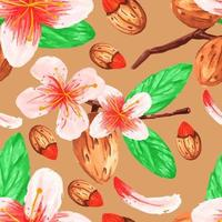 Watercolor branches and almonds seamless pattern vector