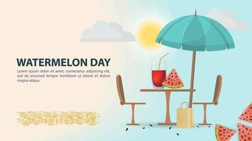A glass of watermelon juice with a cut slice on table vector
