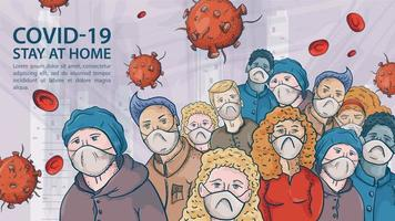 una gran multitud de personas con máscaras médicas entre las moléculas del coronavirus covid vector