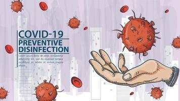 mano sosteniendo la molécula de coronavirus covid vector