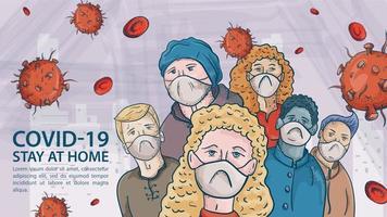 grupo de personas con máscaras médicas entre moléculas de coronavirus covid vector