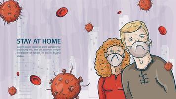 dos personas, un hombre y una mujer con máscaras entre moléculas covid vector