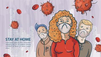 Tres personas con máscaras entre las moléculas de covid. vector