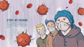 Tres personas con máscaras entre moléculas de coronavirus covid vector