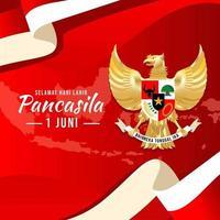 Golden Garuda for Pancasila Day Celebration vector