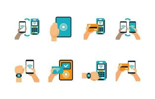 Contactless Technology Icon Set vector